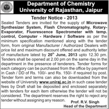 Supply of Fluorescence Spectrometer (University of Rajasthan)