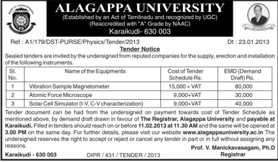 Supply of Atomic Force Microscope (Alagappa University)