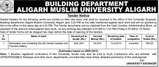 Renovation of canteen and fine arts gallery (Aligarh Muslim University (AMU))