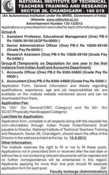 Accountant and Accounts Officer (NITTTR)