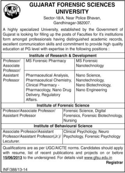 Asstt Professor (Gujarat Forensic Sciences University)