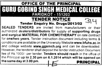 Supply of Surgical Materials (Guru Gobind Singh Medical College)