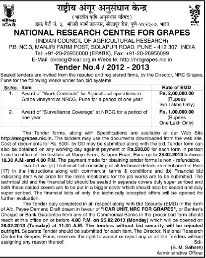 Tender for Agriculture operations in Grape (National Research Centre for Grapes (NRCG))