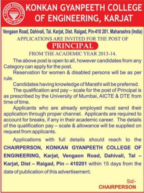 Principal; (Konkan Gyanpeeth College of Engineering)