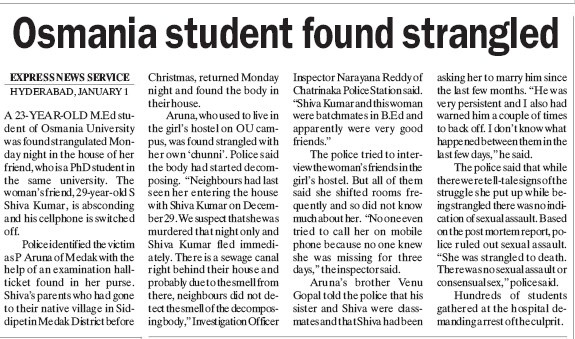 Osmania student found strangled (Osmania University)