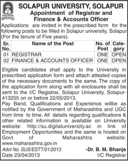 Registrar and Accounts Officer (Solapur University)