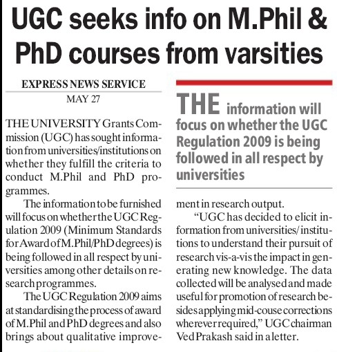 UGS seeks info on M Phil and PhD Courses (University Grants Commission (UGC))