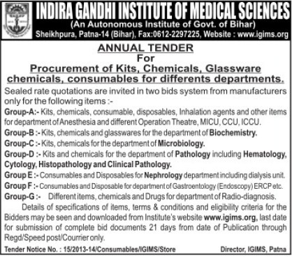 Supply of Chemicals and Glassware (Indira Gandhi Institute of Medical Sciences (IGIMS))