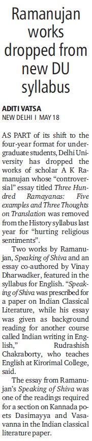 Ramanujan Works Dropped from new DU syllabus (Delhi University)