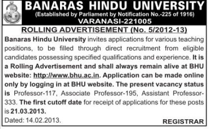 Asstt and Asso Professor (Banaras Hindu University)