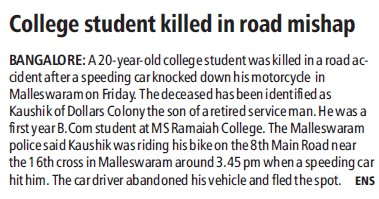 College student killed in road mishap (MS Ramaiah College of Arts, Science and Commerce)