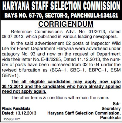 Inspector wild life (Haryana Staff Selection Commission (HSSC))