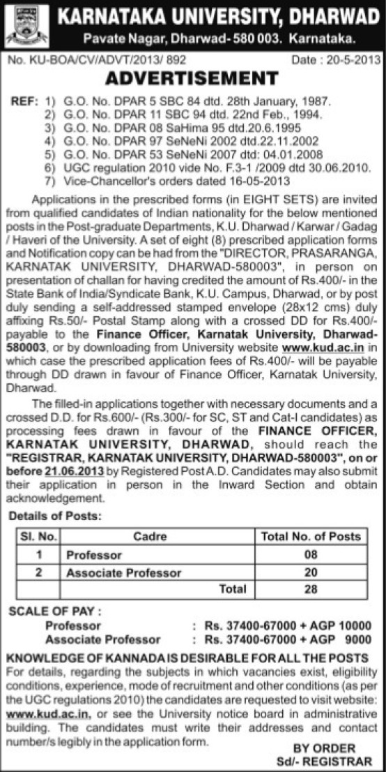 Associate Professor (Karnatak University)