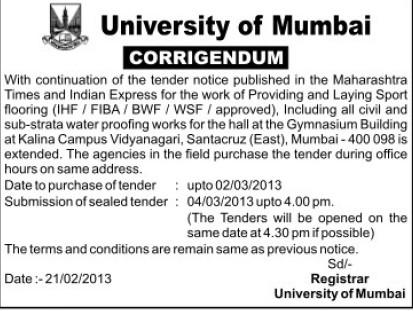Changes in Tender (University of Mumbai (UoM))