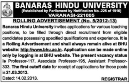 Teaching posts (Banaras Hindu University)
