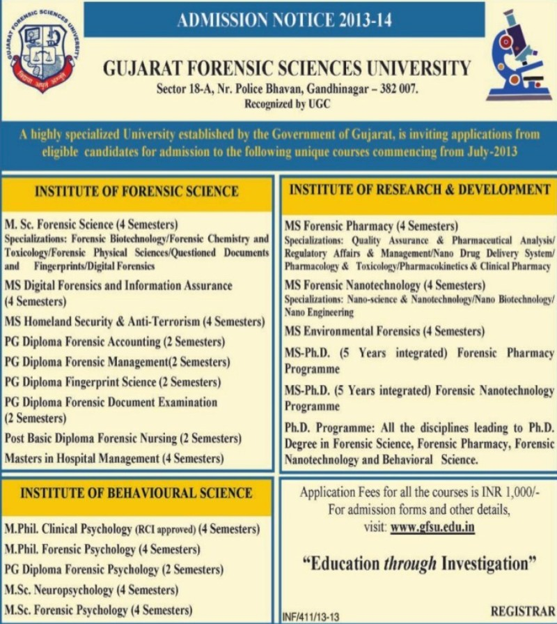 MS in Digital Science (Gujarat Forensic Sciences University)