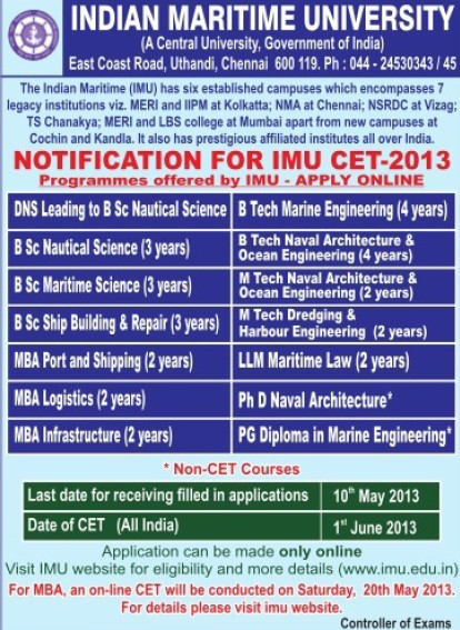 BSc in Nautical Science (Indian Maritime University)