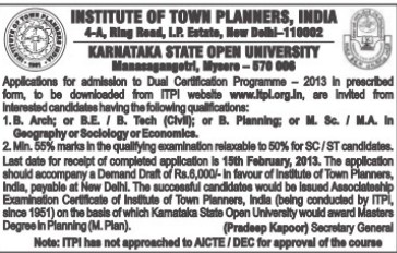 B Arch and BE course (Institute of Town Planners India (ITPI))