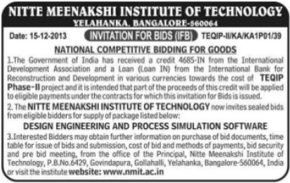 Supply of Proce Modulation Software (Nitte Meenakshi Institute of Technology (NMIT))