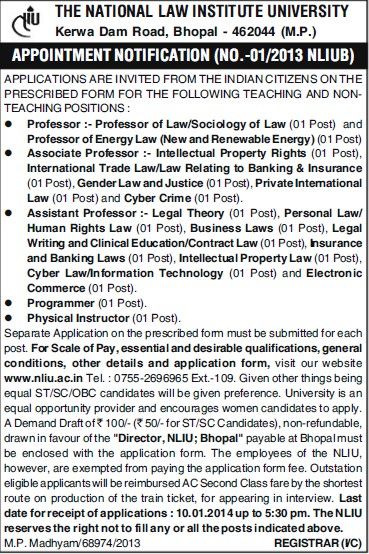 Associate Professor and Physical Instructor (National Law Institute University (NLIU))