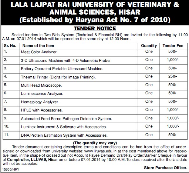 Supply of Luminescence Analyzer (Lala Lajpat Rai University of Veterinary and Animal Sciences)
