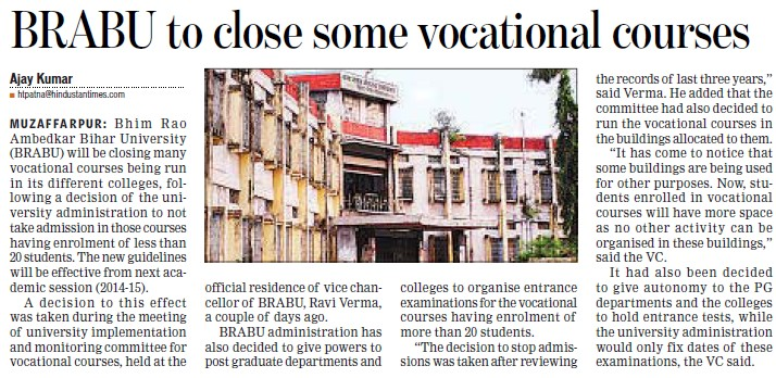 BRAU to close some vocational courses (Babasaheb Bhimrao Ambedkar Bihar University)