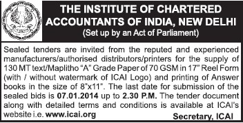 Supply of 130 MT text (Institute of Chartered Accountants of India (ICAI))