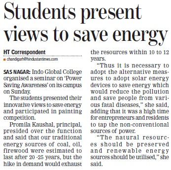 Students present views to save energy (Indo Global Group of Colleges)