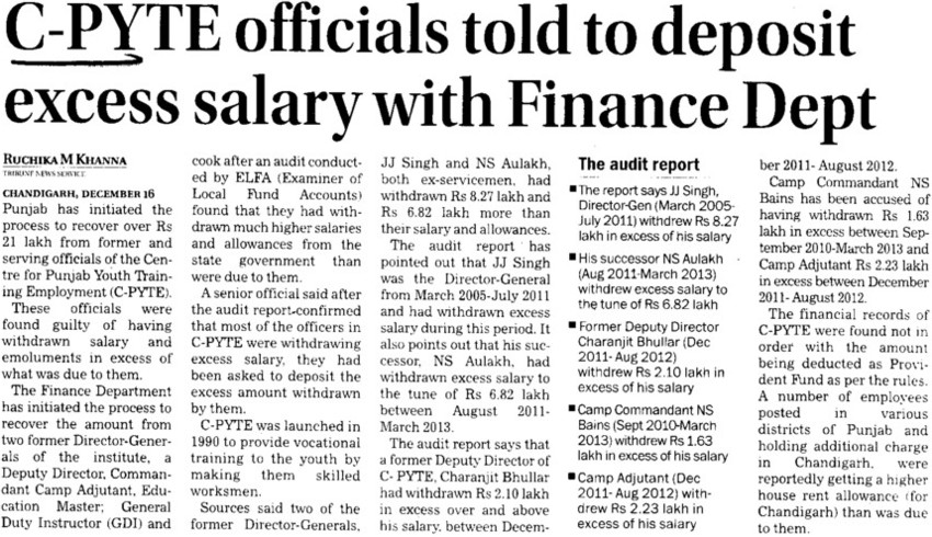 C Pyte officials told deposit excess salary with finance dept (Centre of Punjab for Youth Training and Employment (C PYTE))