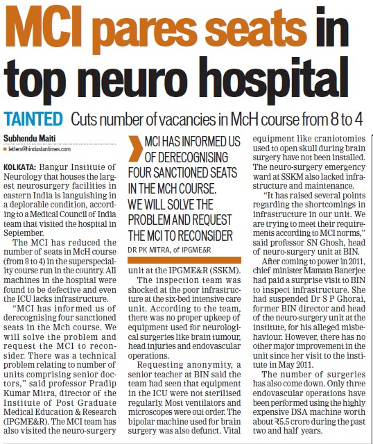 MCI pares seats in top neuro hospital (Medical Council of India (MCI))