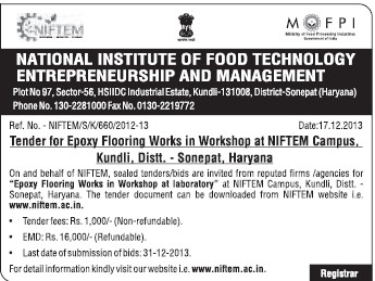 Epoxy flooring works in workshop (National Institute of Food Technology Entrepreneurship and Management (NIFTEM))