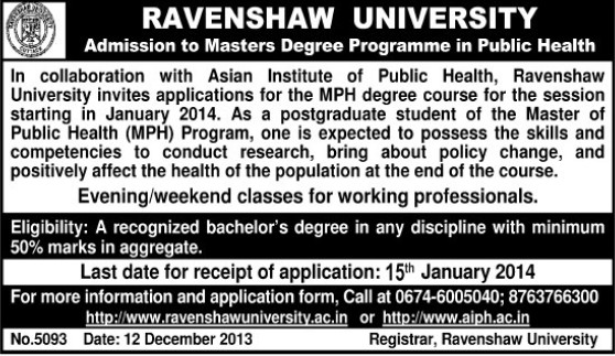 MPH degree courses (Ravenshaw University)