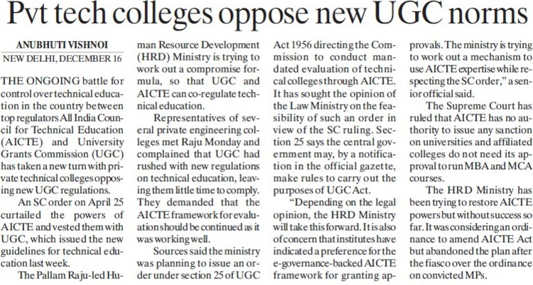 Pvt Tech colleges oppose new UGC norms (University Grants Commission (UGC))