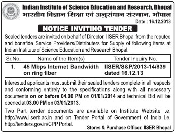 Installation of Internet Bandwidth on ring fiber (Indian Institute of Science Education and Research (IISER))