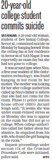 20 years old student commits suicide (Dev Samaj College for Women)