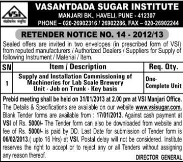 Installation of Machineries (Vasantdada Sugar Institute (VSI))