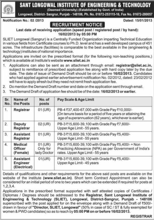 Registrar and Asstt Engineer (Sant Longowal Institute of Engineering and Technology SLIET)