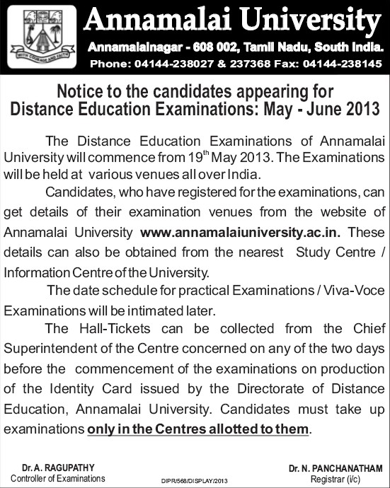 Distance Education Examination 2013 (Annamalai University)