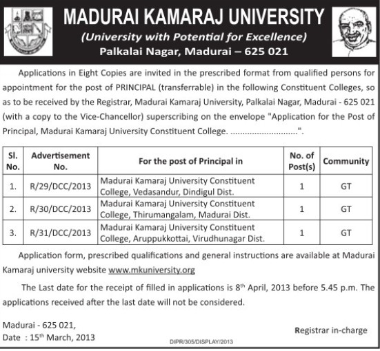 Principal on regular basis (Madurai Kamaraj University)