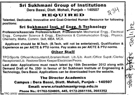 Asstt Professor and Librarian (Sri Sukhmani Institute of Engineering and Technology)
