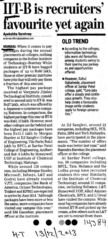 IIT B recruiters favourite yet again (Indian Institute of Technology (IITB))