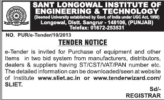 Supply of PAN numbers (Sant Longowal Institute of Engineering and Technology SLIET)