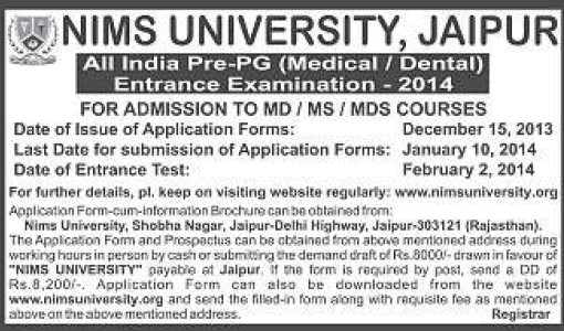 All India Pre PG Exam (NIMS University)