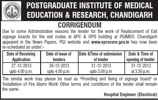 Replacement of exit signage boards (Post-Graduate Institute of Medical Education and Research (PGIMER))