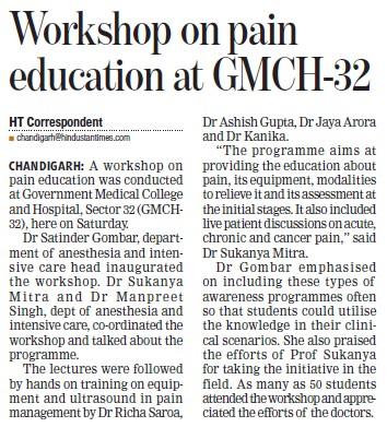 Workshop on pain education (Government Medical College and Hospital (Sector 32))