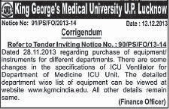 Supply of ICU ventilator (KG Medical University Chowk)