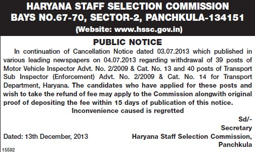 Transport Sub Inspector (Haryana Staff Selection Commission (HSSC))