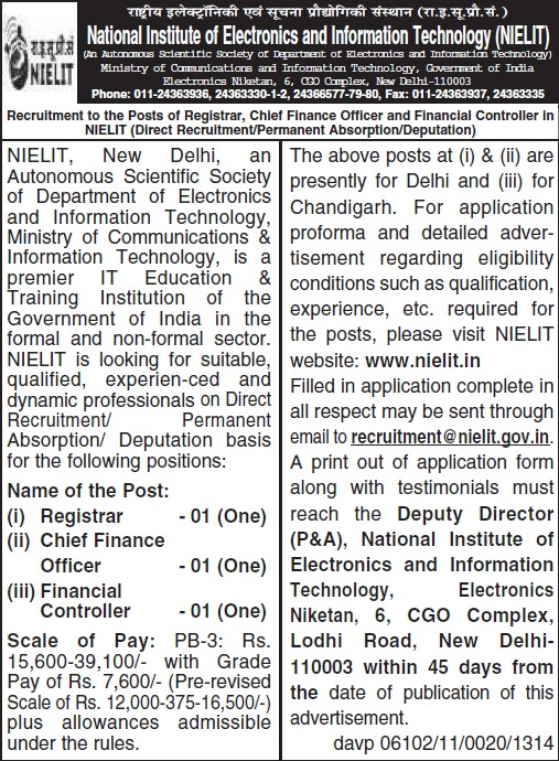 Chief Finance Officer (National Institute of Electronics and Information Technology (NIELIT))