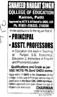Principal and Asstt Professor (Shaheed Bhagat Singh College of Education)