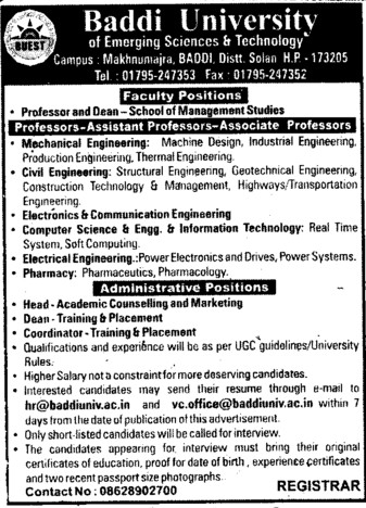 Asstt Professor for Civil Engineer (Baddi University of Emerging Sciences and Technologies)